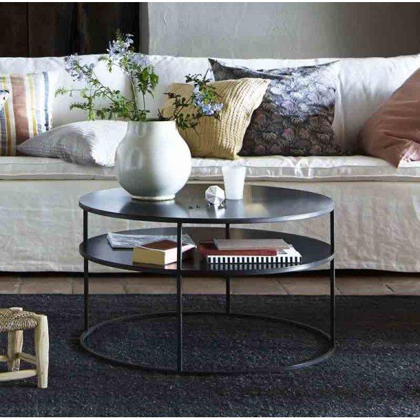 Sofabord metal med hylde - sort