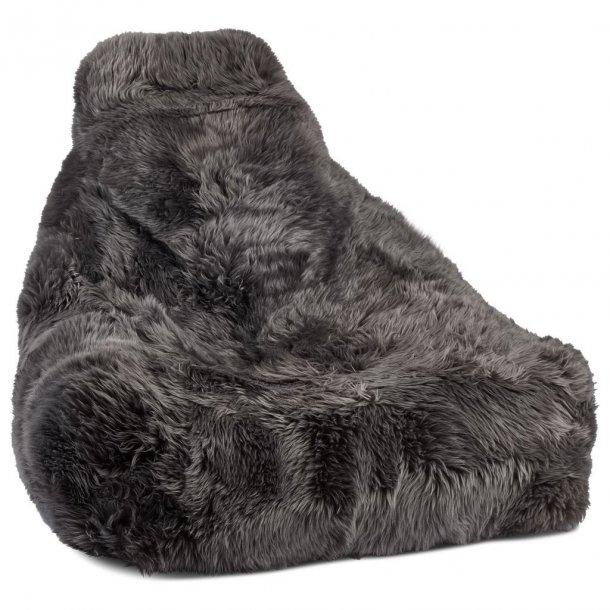 Sækkestol i langhåret New Zealand skind - Steel