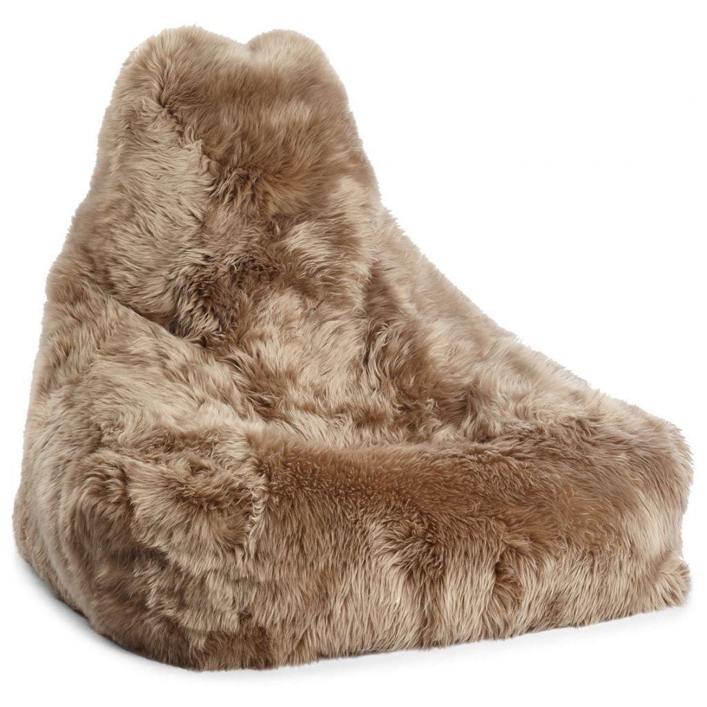 Sækkestol i langhåret New Zealand skind Taupe