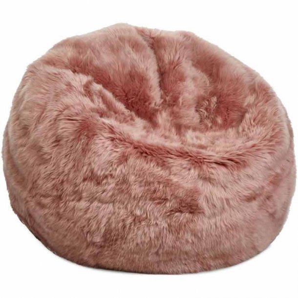Sækkestol i langhåret New Zealand skind - Rosa