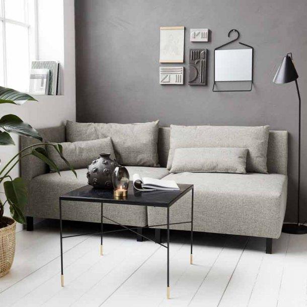 Sofa hjørnemodul med 2 puder - grå melange