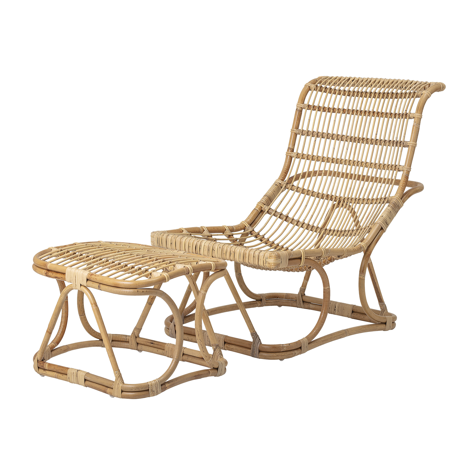 Image of Bloomingville - Eloise Lounge stol med skammel - Natur Rattan